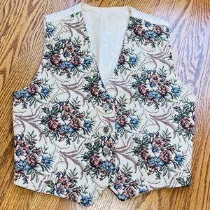 Vintage 90s does 70s Tapestry Adjust Floral Vest